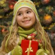 Little girl with a gift - Stock Photo