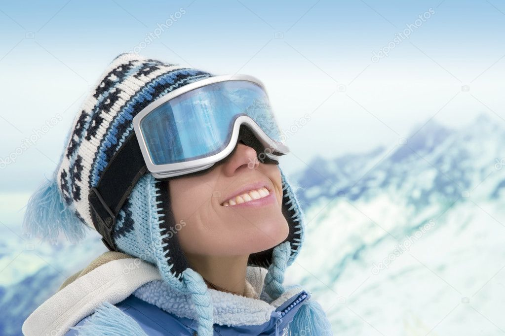 Portrait of young woman against a background of the mountains — Stock Photo #1563143