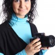 Attractive woman with camera — Stock Photo