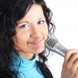 Foto Stock: Beautiful girl with microphone
