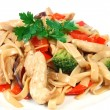 Chicken with pasta — Stock Photo