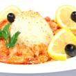 Shrimps with rice and lemon — Stock Photo