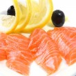 Salmon Fillets on White Plate - Stock Photo