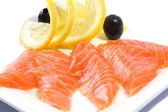 Salmon Fillets on White Plate — Stock Photo