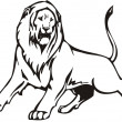 Royalty-Free Stock Vector Image: Lion illustration in black lines