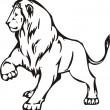 Stock vektor: Lion illustration in black lines