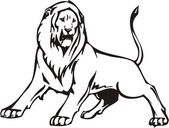 Lion illustration in black lines — Vecteur