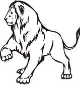Lev ilustrace v černé čáry — Stock vektor