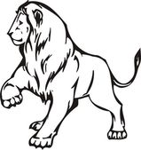 Lion illustration in black lines — Vettoriale Stock