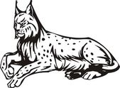 Lion illustration in black lines — Vector de stock