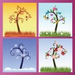 Season trees — Stock Vector