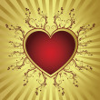 Heart golden frame — Stockvectorbeeld