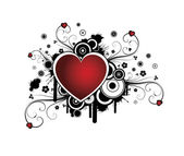 Kalbi olan retro arka plan — Stok Vektör