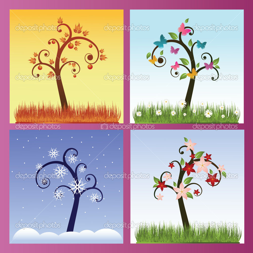 Set of four season trees — Stock Vector #1542417