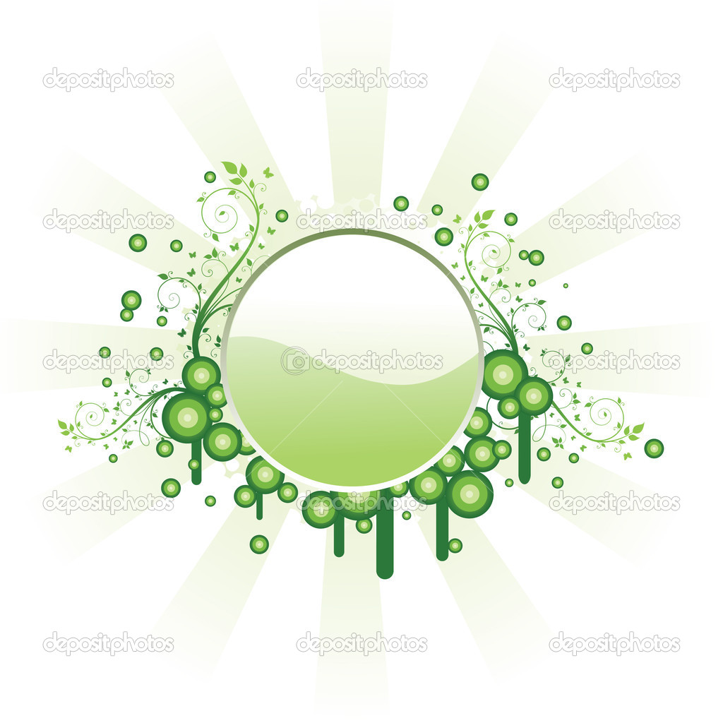 Green floral frame  Stock Vector #1543841