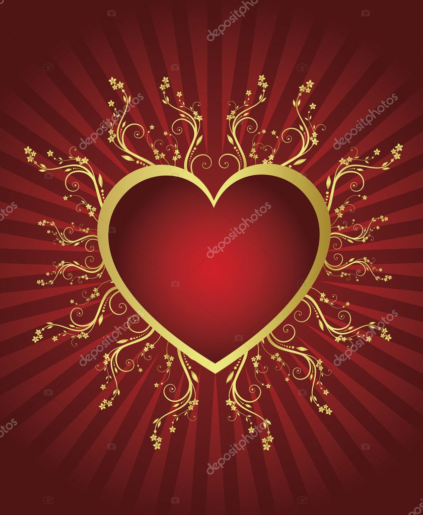 Heart golden frame — Stock Vector #1544014