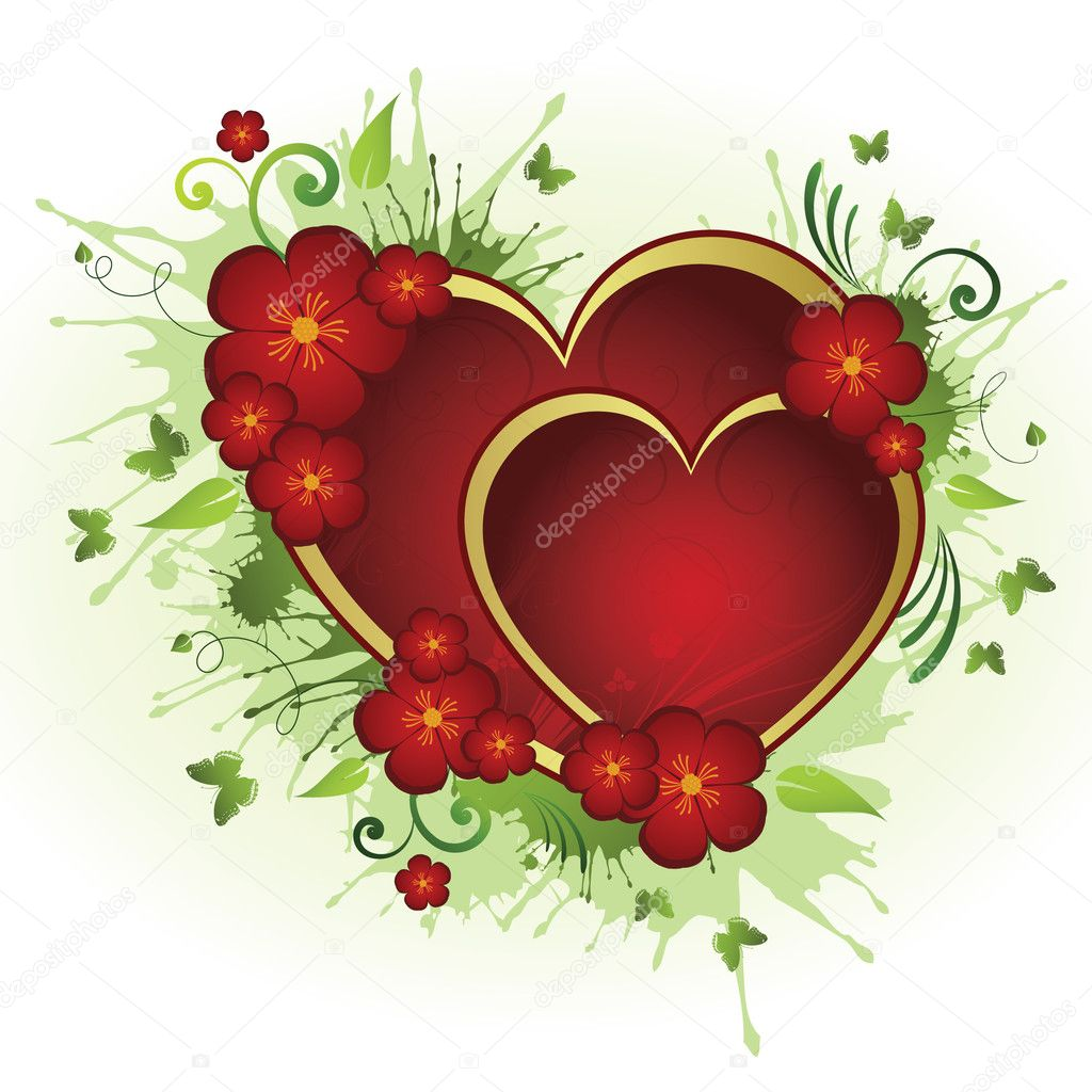 Floral heart  Stock Vector #1544036