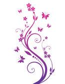 Arbre magique avec des papillons — Vecteur