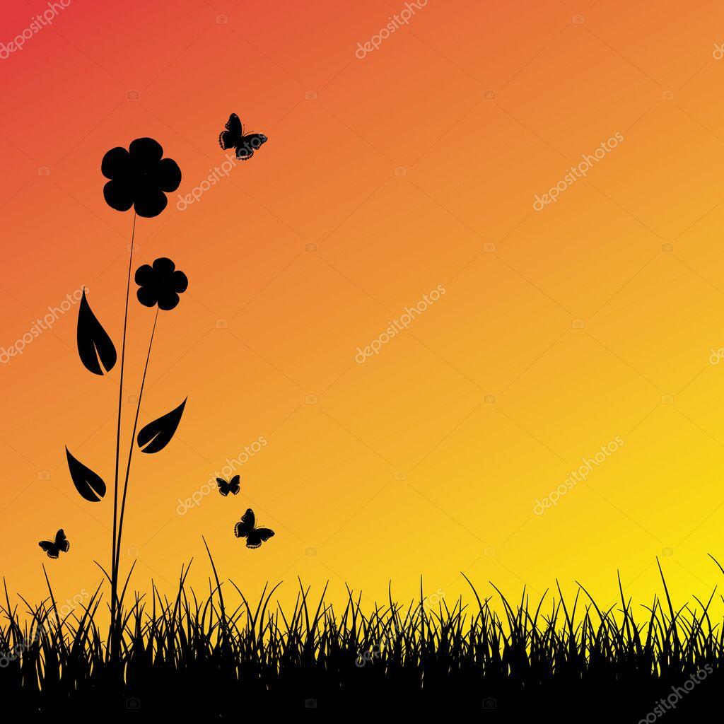 Summer sunset background — Stock Vector #1923636
