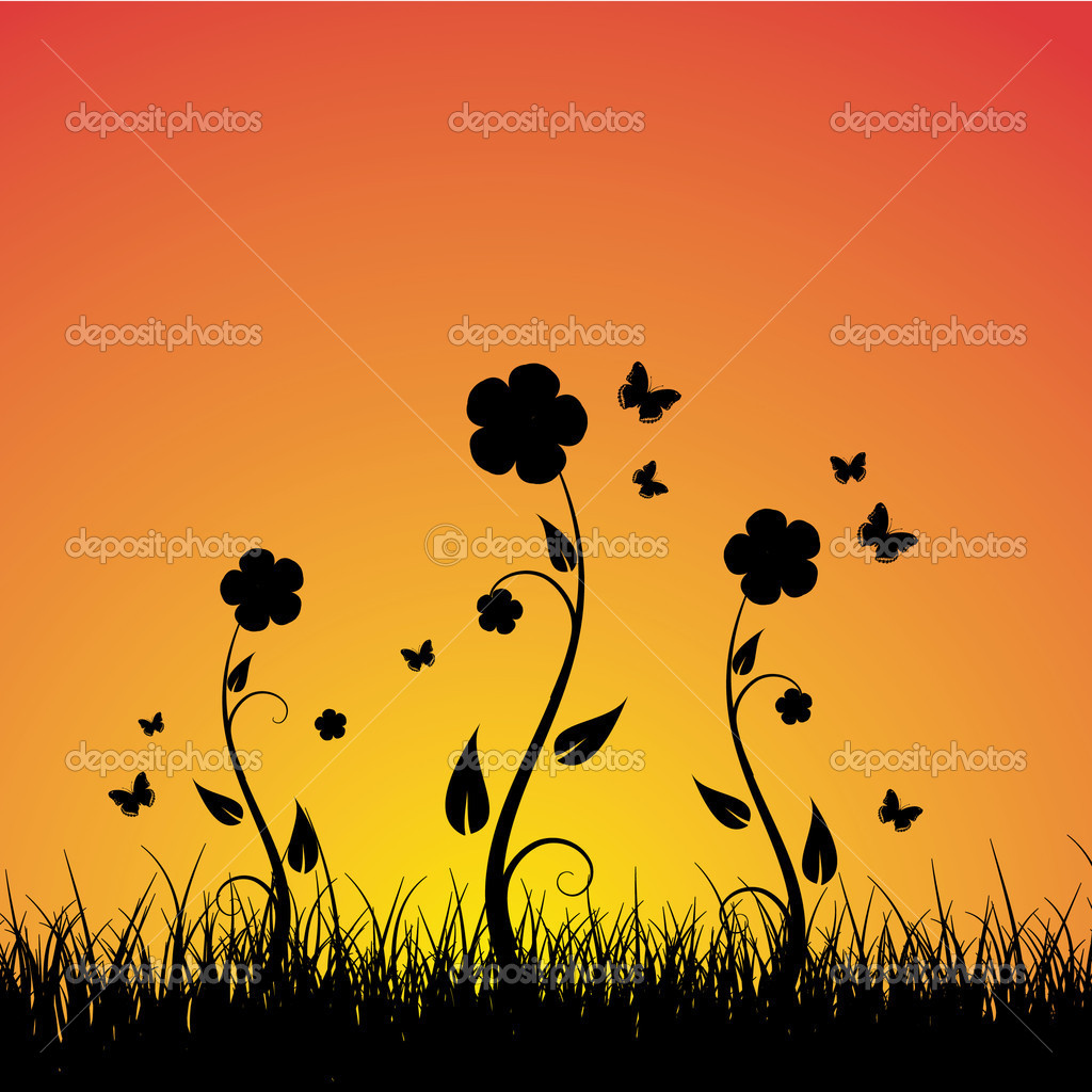 Summer sunset background — Stock Vector #1923640