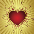 Vector de stock : Heart golden frame