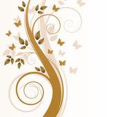 魔术秋天一棵树与蝴蝶和 s — 图库矢量图片