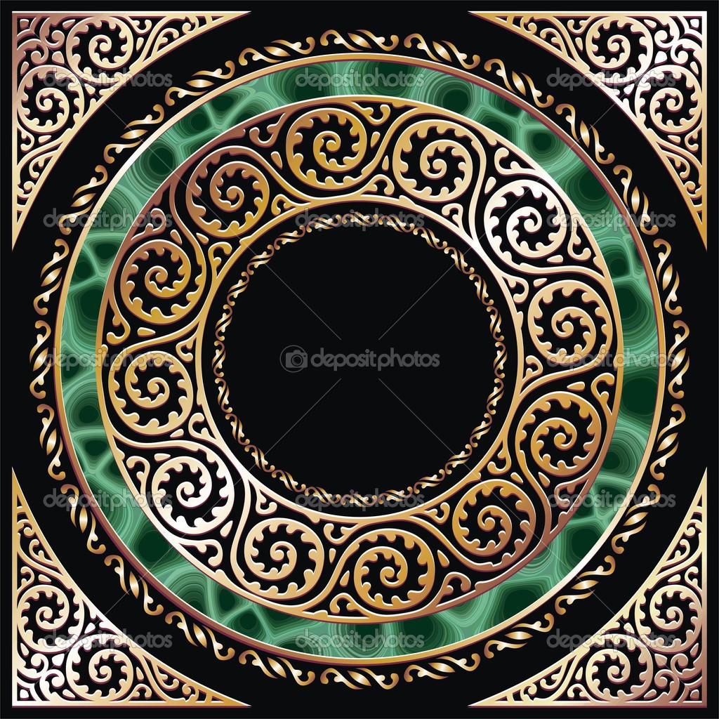 Golden circle frame with malachite. Separated by layers and groups for easy edit. — Stock Vector #1574402