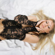 Stock Photo: Beautiful blonde sex in bed