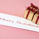 Christmas boxes a congratulatory card — Stock Photo
