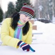 Girl wrote in the snow - Stock Photo