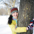 Foto Stock: Girl and tree
