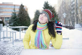 Cheerful girl in winter — Stock Photo