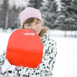 Beautiful girl snowborder — Stock Photo #1933862
