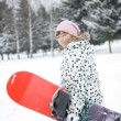 beautiful girl snowborder — Stock Photo