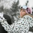 Beautiful girl snowborder - Lizenzfreies Foto