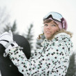 Foto Stock: Beautiful girl snowborder