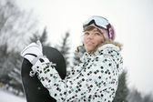 Krásná dívka snowborder — Stock fotografie