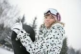 Linda garota snowborder — Foto Stock