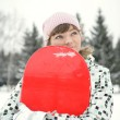 Stock Photo: beautiful girl snowborder