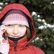 Winter girl on the phone - Stock Photo