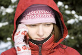 Winter girl on the phone — Stock Photo