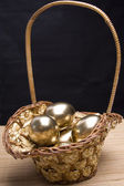 Easter golden eggs — Foto Stock