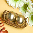 Stock Photo: Easter golden eggs