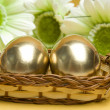 Easter golden eggs — Stock Photo