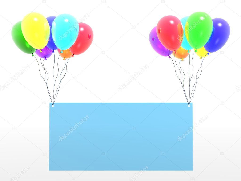 Rainbow baloons with empty blank (see more in my portfolio) — Stock Photo #1547445