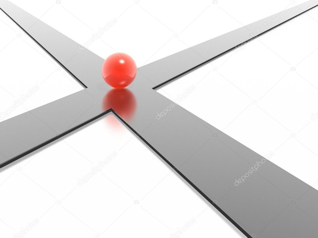 3d crossroad with red ball — Stock Photo #1547464