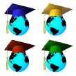 Globes with graduation cap — Stock Photo