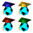 Стоковое фото: Globes with graduation cap