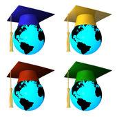 Glober med avläggande av examen mössa — Stockfoto