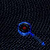 Binární kód a lupa — Stock fotografie